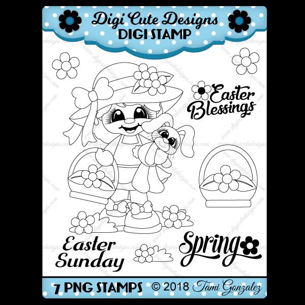 Easter Girl Digi Stamp-Easter, spring, girl, flower, basket, bunny, grass