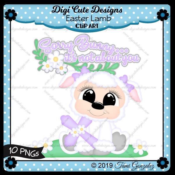 Easter Lamb Clip Art-lamb, flower, cross, grass, Easter
