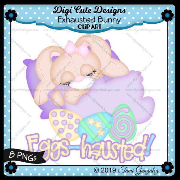 Exhausted Bunny Clip Art-Easter, bunny, sleeping, pillow, blanket, eggs