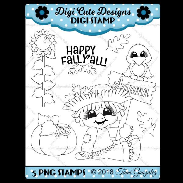 Fall Scarecrow Digi Stamp-fall, autumn, leaves, leaf, crow, pumpkin, sunflower, scarecrow
