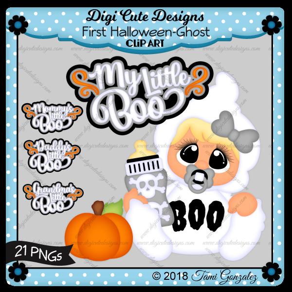First Halloween - Ghost Clip Art-Halloween, costume, baby, bottle, skull, pumpkin, ghost, pacifier