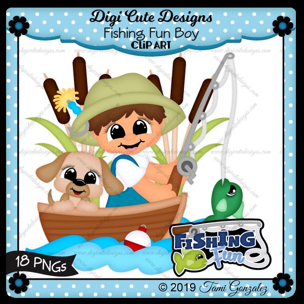 Fishing Fun Boy Clip Art-dog, puppy, lure, fishing pole, fish, boat, boy, hat, cattails, water, bobber