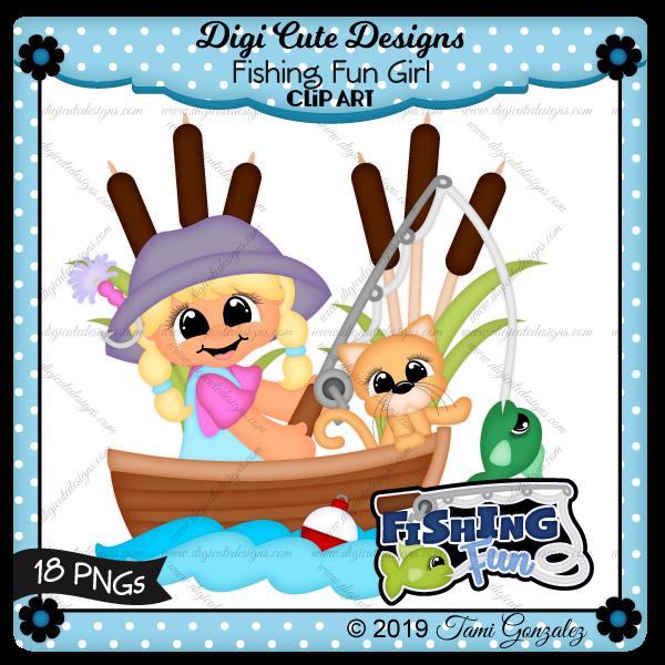 Fishing Fun Girl Clip Art-fish, kitty, cat, fishing pole, lure, bobber, water, boat, cattails, girl, hat