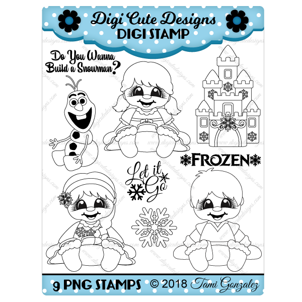 Frozen Babies Digi Stamp-Elsa, Anna, Kristopf, castle, snowflake, Olaf