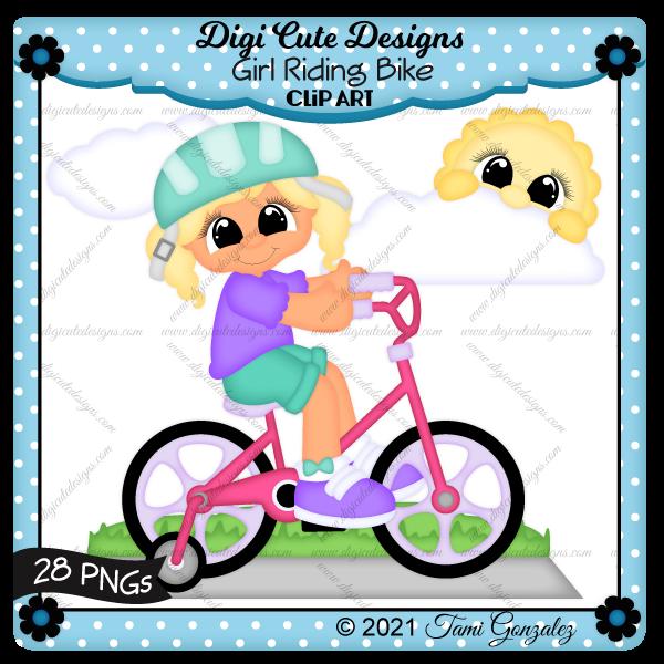 Girl Riding Bike Clip Art-sidewalk, grass, sun, clouds, helmet, bicycle, training wheels