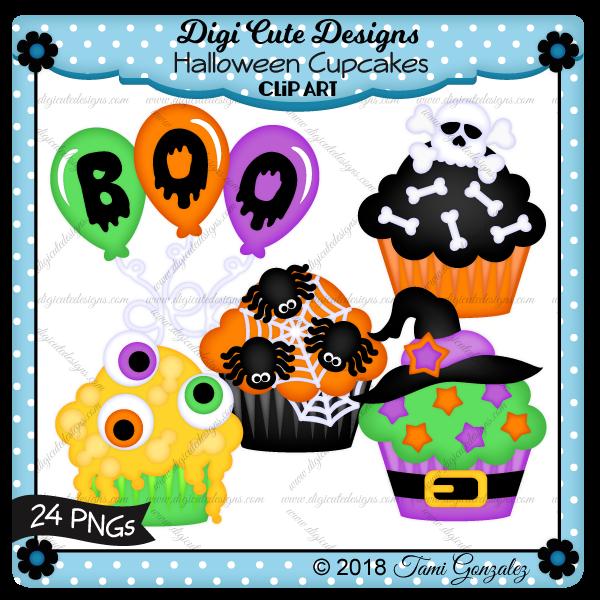 Halloween Cupcakes Clip Art-Halloween, cupcake, balloons, skull, bones, spider, web, witch hat, stars, eyeballs