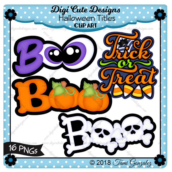 Halloween Titles Clip Art-Halloween, spooky eyes, pumpkins, candy corn, spider, web, skull, bones
