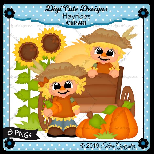Hayrides Clip Art-scarecrow, sunflower, hay, wagon, pumpkins