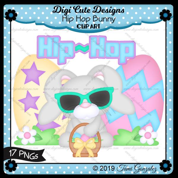 Hip Hop Bunny Clip Art-Easter, eggs, basket, bunny, rabbit, sunglasses, grass, flower
