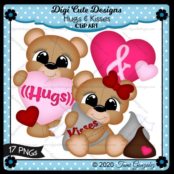Hugs & Kisses Clip Art-Valentines Day, Love, heart, chocolate kiss, bear, bow