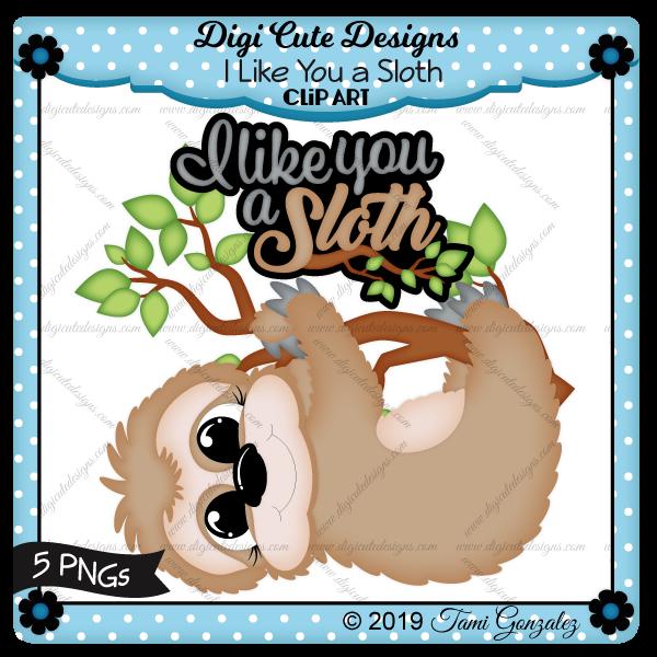 I Like You a Sloth Clip Art-slow, sloth, tree, branch, leaf, leaves
