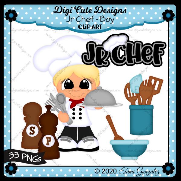 Jr Chef - Boy Clip Art-cook, bake, bowl, spoon, fork, knife, plate, dome, salt, pepper, silverware, utensils, wooden spoon, spatula