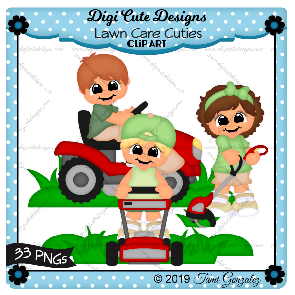 Lawn Care Cuties Clip Art-grass, lawn mower, riding lawn mower, trimmer, weed wacker, boy, girl