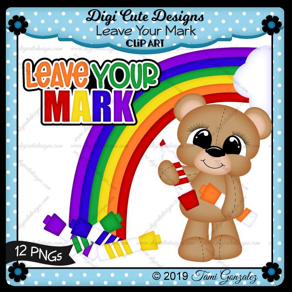 Leave Your Mark Clip Art-school, marker, rainbow, cloud, bear, drawing, color