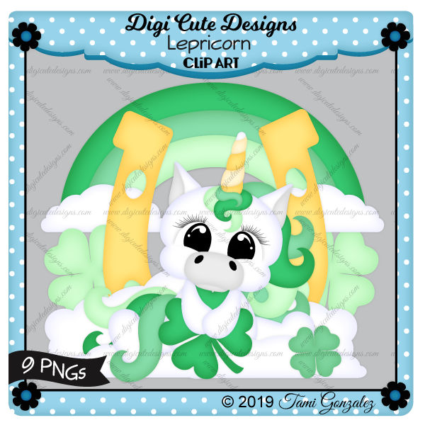 Lepricorn Clip Art-St Patricks Day, St Patty, clover, shamrock, leprechaun, rainbow, clouds, unicorn
