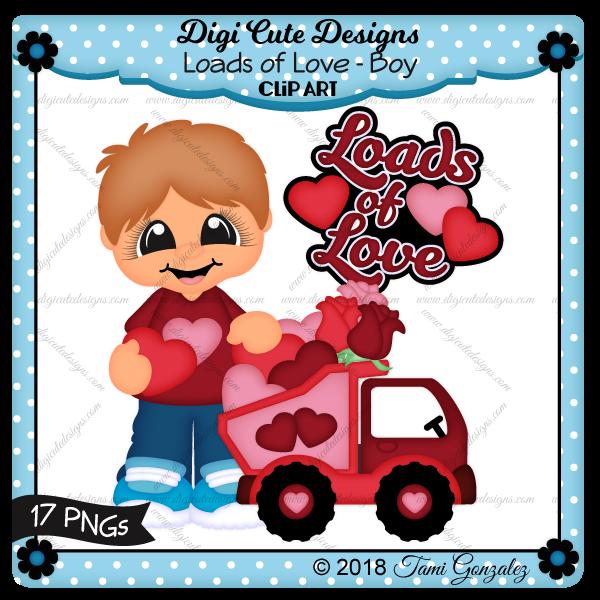 Loads of Love - Boy Clip Art-Valentines Day, love, heart, rose, truck, boy