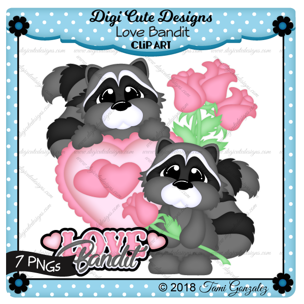 Love Bandit Clip Art-Valentines Day, raccoon, heart, roses, love