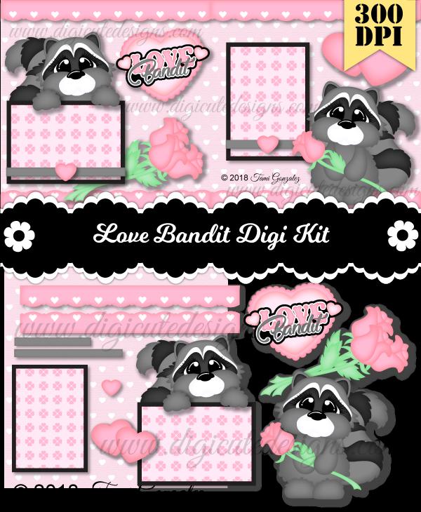 Love Bandit DSK-Valentines Day, raccoon, heart, love, rose