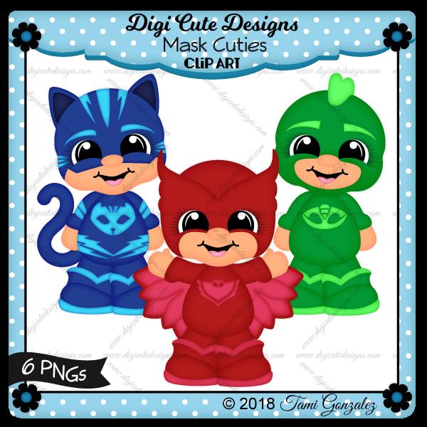 Mask Cuties Clip Art-PJ Masks, catboy, owlette, gekko