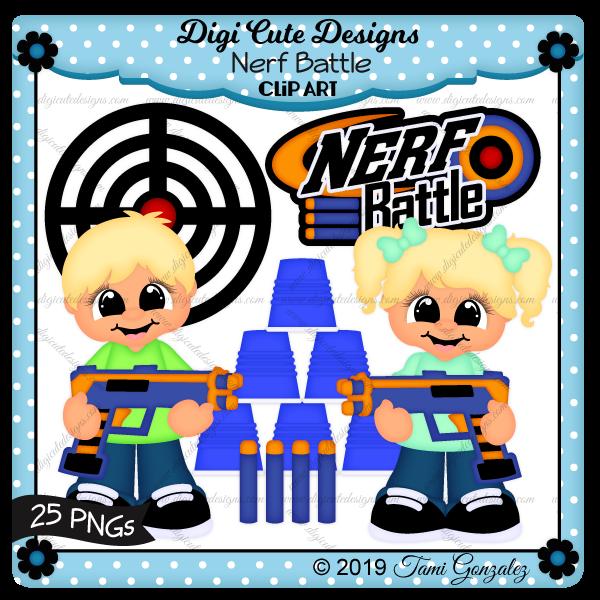 Nerf Battle Clip Art-nerf, ammo, gun, target, cup, boy, girl