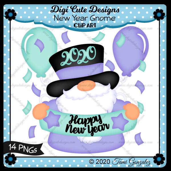 New Year Gnome Clip Art-confetti, celebration, star, balloons