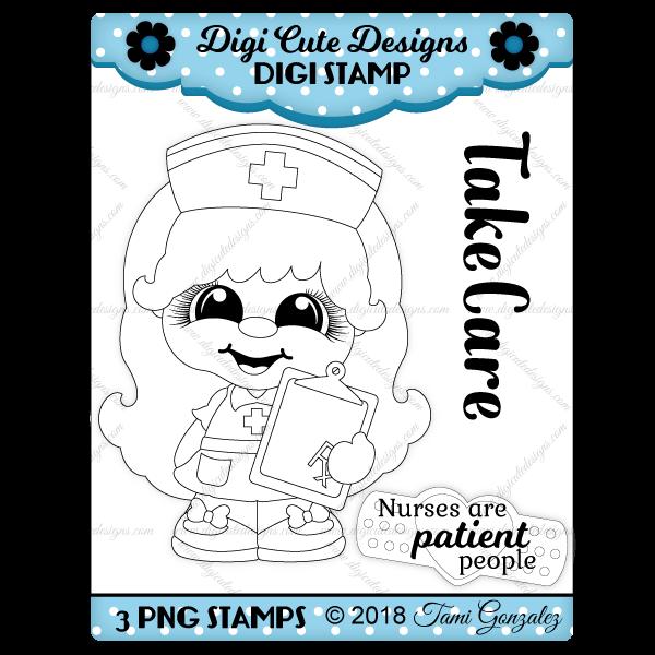 Nurse Cutie Digi Stamp-nurse, doctor, medical, bandaid
