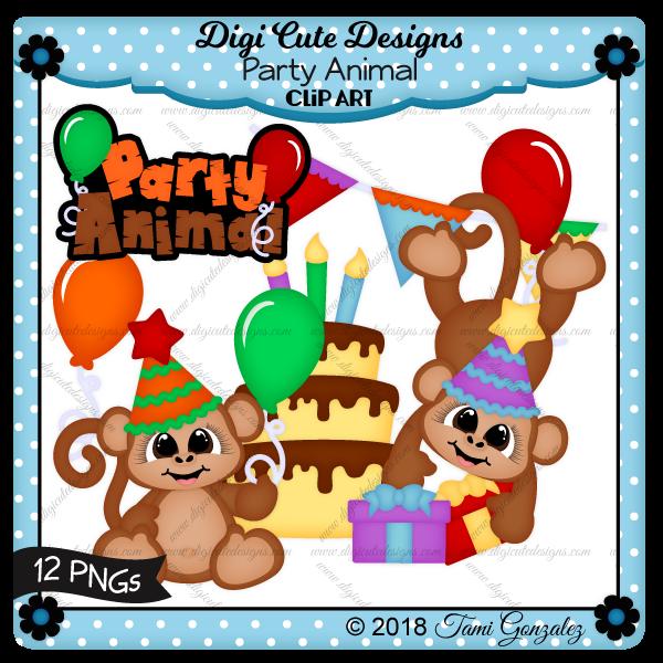 Party Animal Clip Art-monkey, birthday, balloon, cake, gift, banner