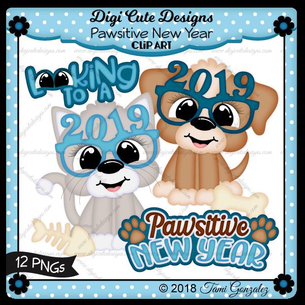 Pawsitive New Year Clip Art-new year, glasses, dog, cat, bone, fish bone