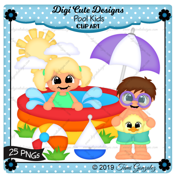Pool Kids Clip Art-Pool, water, sun, clouds, umbrella, boy, girl, floatie duck, beach ball, boat