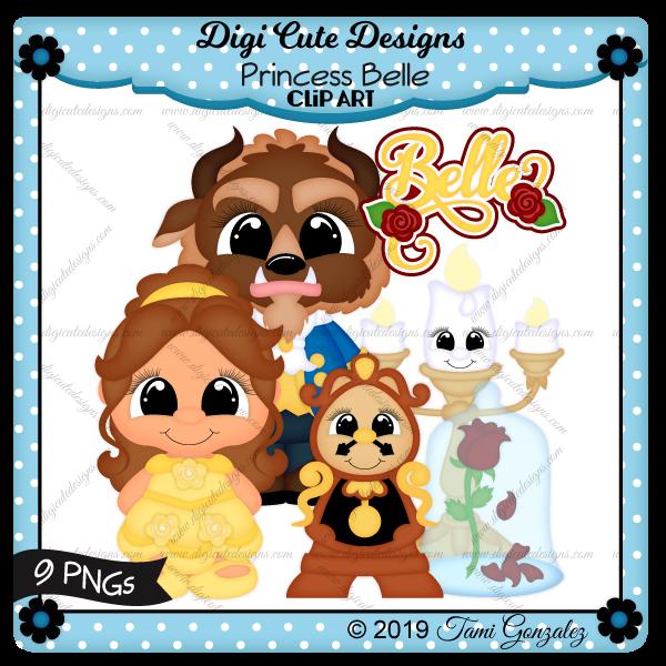 Princess Belle Clip Art-disney, princess, beast, lumiere, clogsworth, clock, candle stick, rose