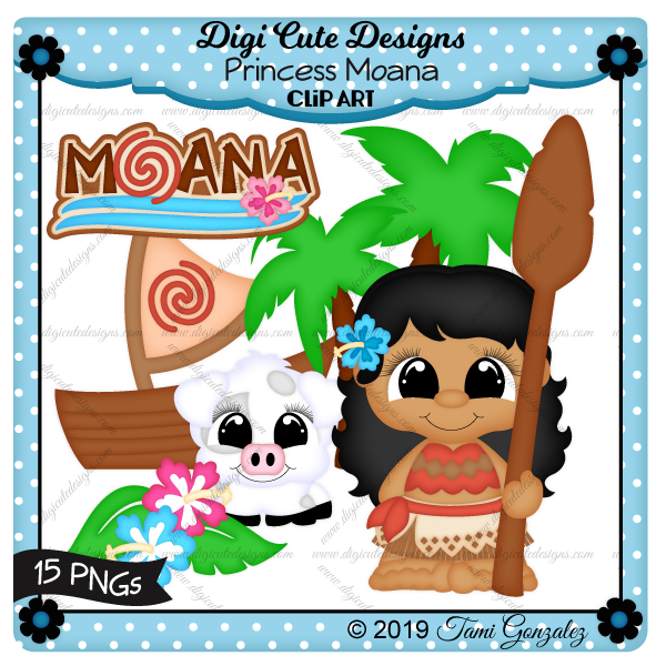 Princess Moana Clip Art-disney, princess, pig, boat, oar, palm tree, hibiscus flower, leaf