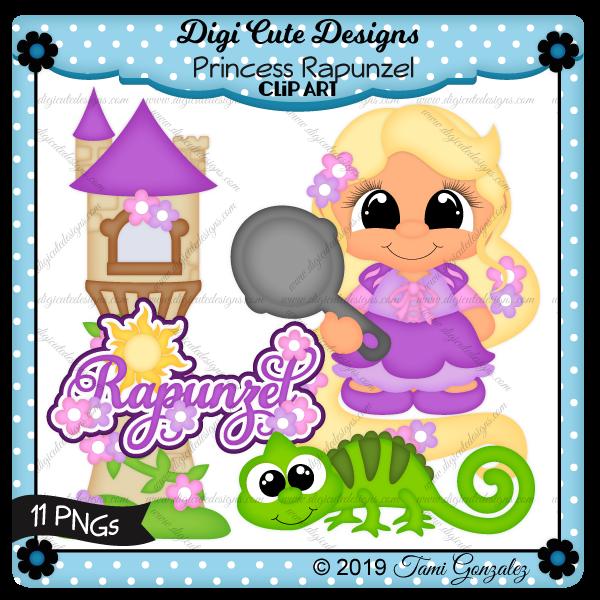Princess Rapunzel Clip Art-disney, princess, tangles, lizard, tower, frying pan, flower