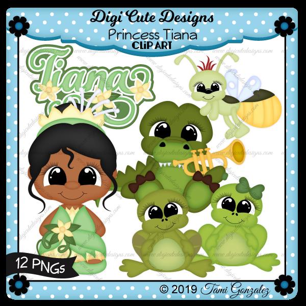 Princess Tiana Clip Art-disney, princess and the frog, flower, alligator, horn, lightening bug, frog