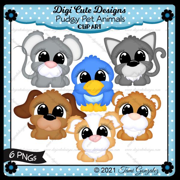 Pudgy Pet Animal Clip Art-cat, dog, hamster, guinea pig, mouse, bird