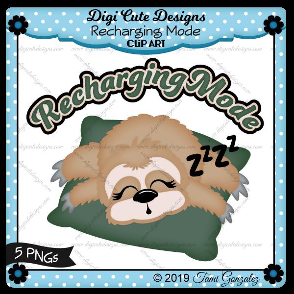 Recharging Mode Clip Art-slow, sloth, sleeping, pillow