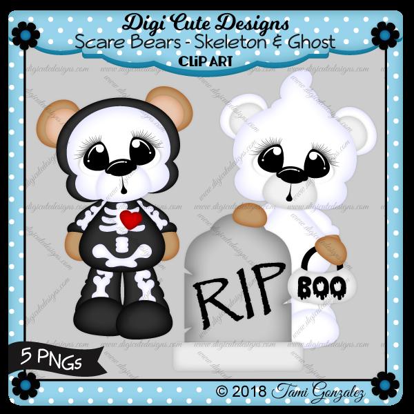 Scare Bears - Skeleton & Ghost Clip Art-Halloween, grave, pumpkin, costume