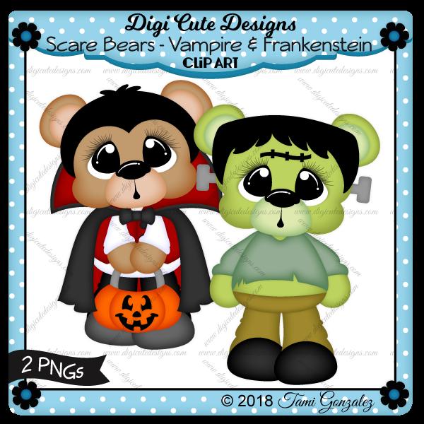 Scare Bears - Vampire & Frankenstein Clip Art-Halloween, costume, pumpkin