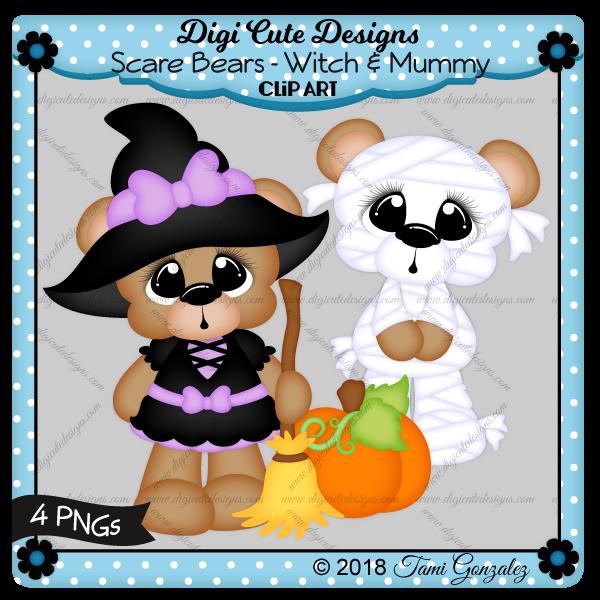 Scare Bears - Witch & Mummy Clip Art-Halloween, costume, broom, pumpkin