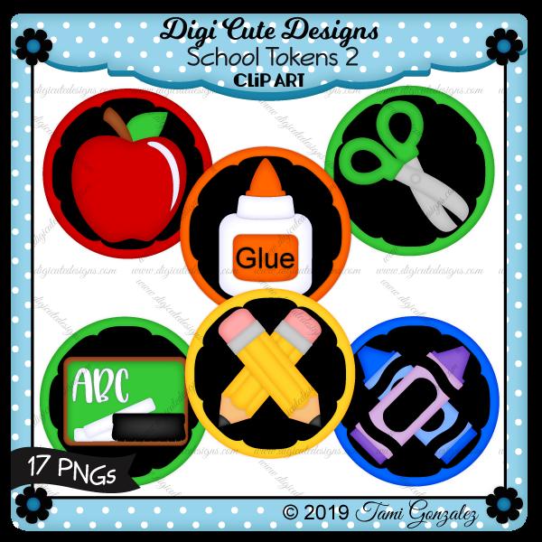 School Tokens 2 Clip Art-apple, glue, scissors, chalk board, eraser, pencils, crayons