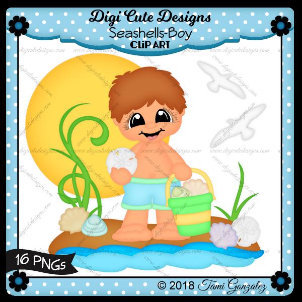 Seashells-Boy Clip Art-beach, seashells, sand dollar, ocean, summer, sun, bird, water, shell