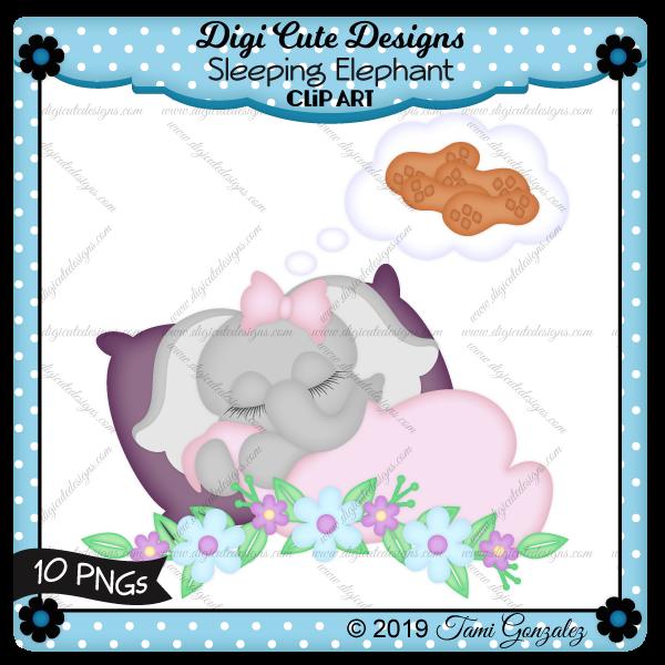 Sleeping Elephant Clip Art-pillow, blanket, elephant, peanuts, dream, flowers