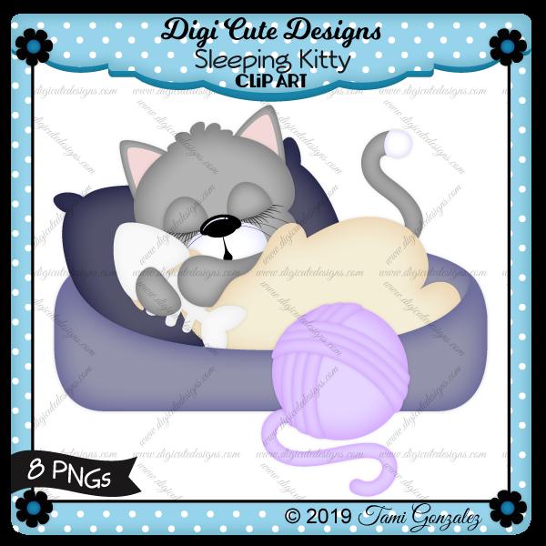 Sleeping Kitty Clip Art-kitty, cat, cat bed, pillow, blanket, yarn, fish bone