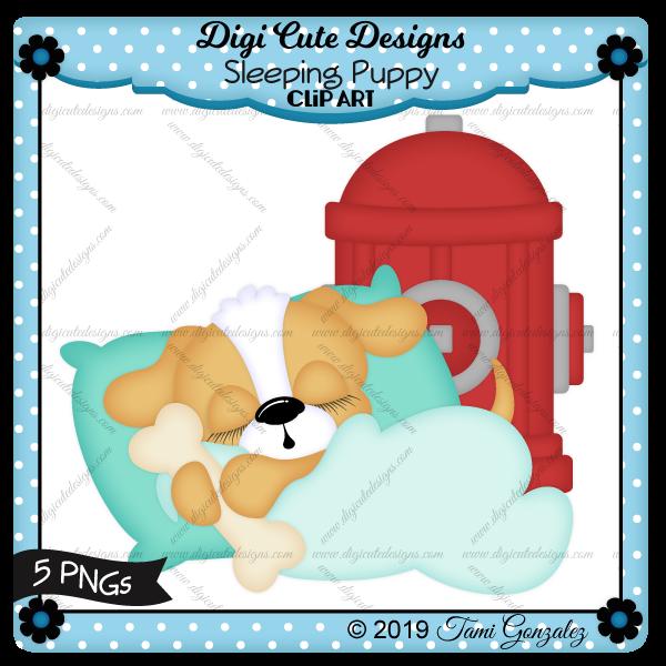 Sleeping Puppy Clip Art-puppy, dog, bone, fire hydrant, pillow, blanket, sleep