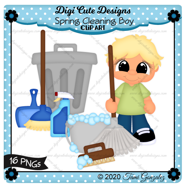 Spring Cleaning Boy Clip Art-Mop, bucket, bubbles, broom, dust pan, scrub brush, spray bottle, trash can, garbage