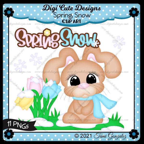 Spring Snow Clip Art-bunny, tulip, flower, snow, snowflake, grass, spring, rabbit, scarf
