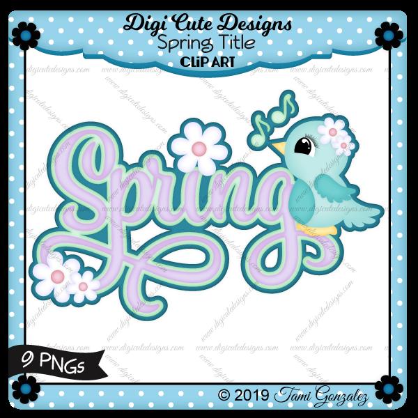 Spring Title Clip Art-bird, flower, spring, music notes
