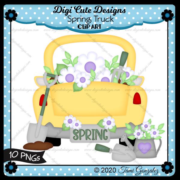 Spring Truck Clip Art-flower, garden tools, shovel, truck, dirt, Spring