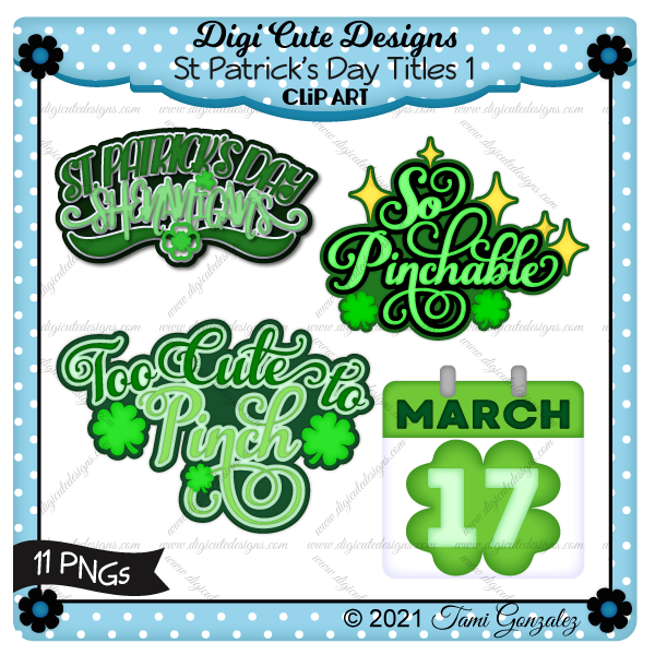 St Patrick's Day Titles 1 Clip Art-clover, star, shamrock, calendar page
