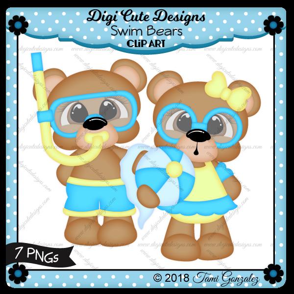 Swim Bears Clip Art-boy, girl, summer, towel, ball, goggles, snorkel
