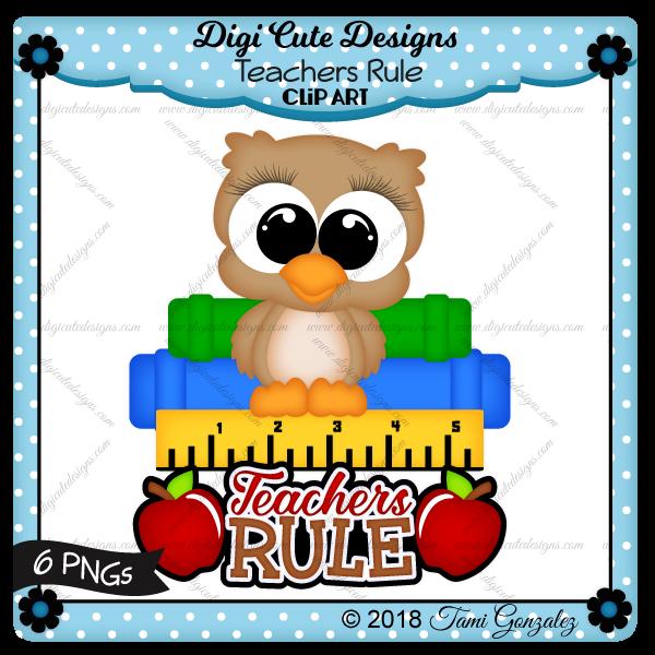 Teachers Rule Clip Art-School, owl, books, ruler, apple